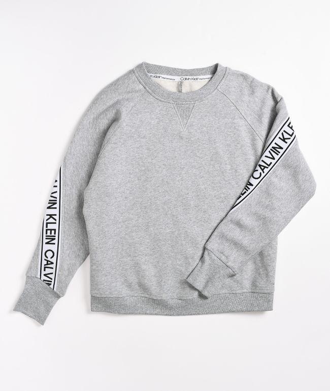 Calvin Klein Logo Tape Grey Crew Neck Sweatshirt