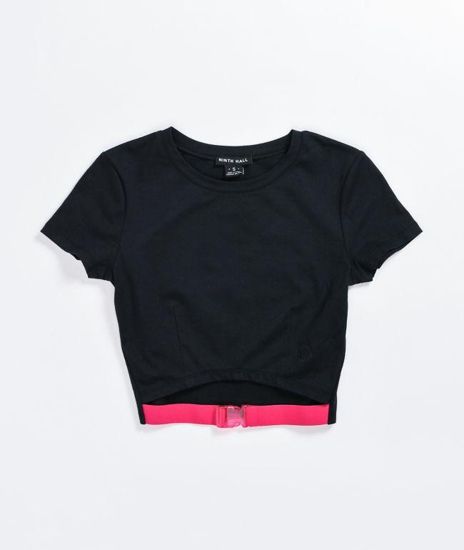 Camiseta recortada negra Sabrina de Ninth Hall