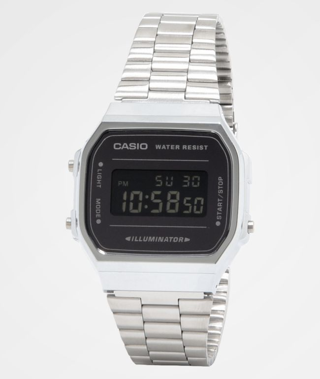 Casio A168WEM-1VT Vintage Silver & Black Digital Watch