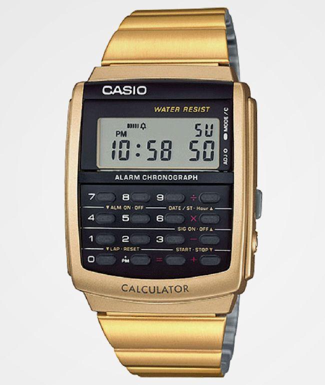 Casio Vintage Calculator Gold Watch