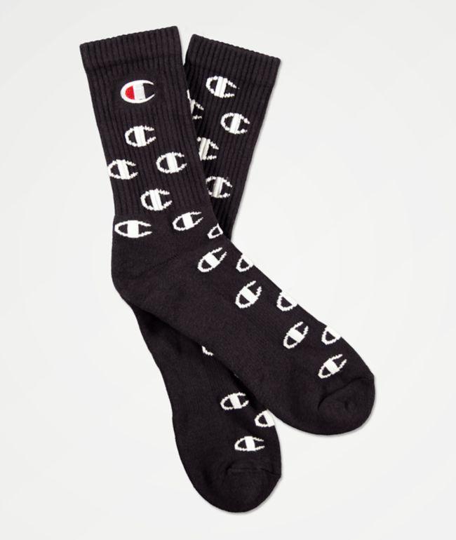 Champion All Over C Black Crew Socks
