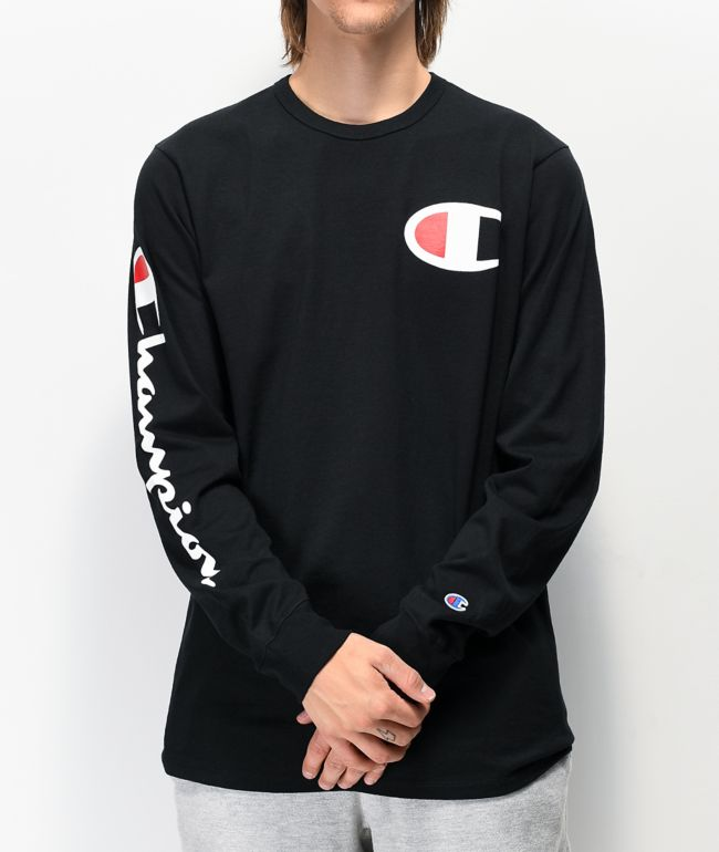 Champion Big C Black Long Sleeve T-Shirt