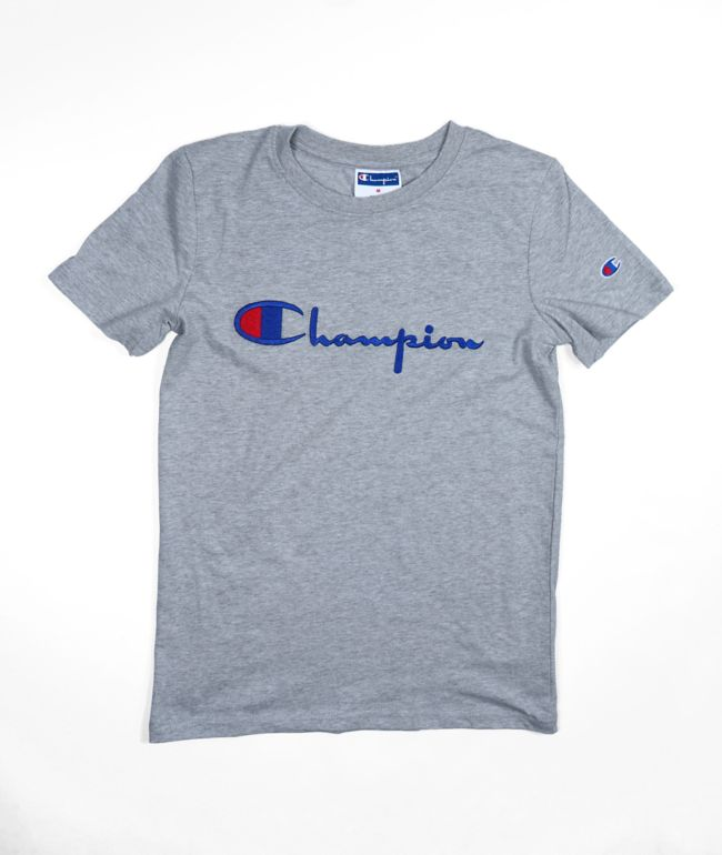 Champion Boys Embroidered Heritage Script Grey  T-Shirt
