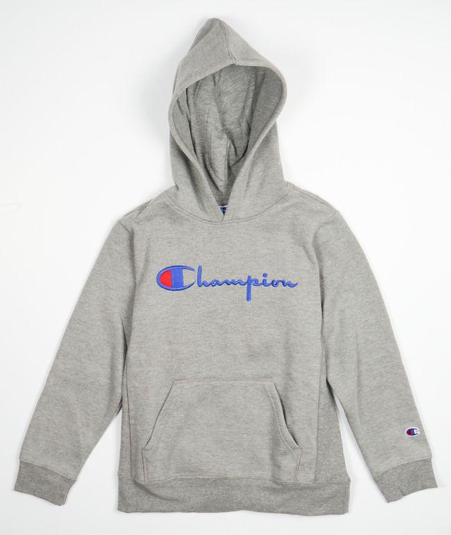 Champion Boys Heritage Script Grey Hoodie