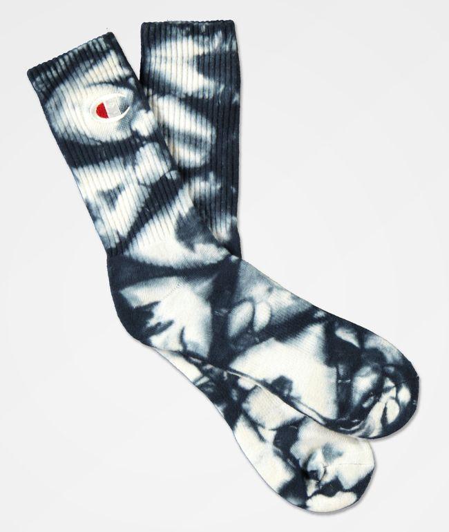 Champion C Life Navy Tie Dye Crew Socks