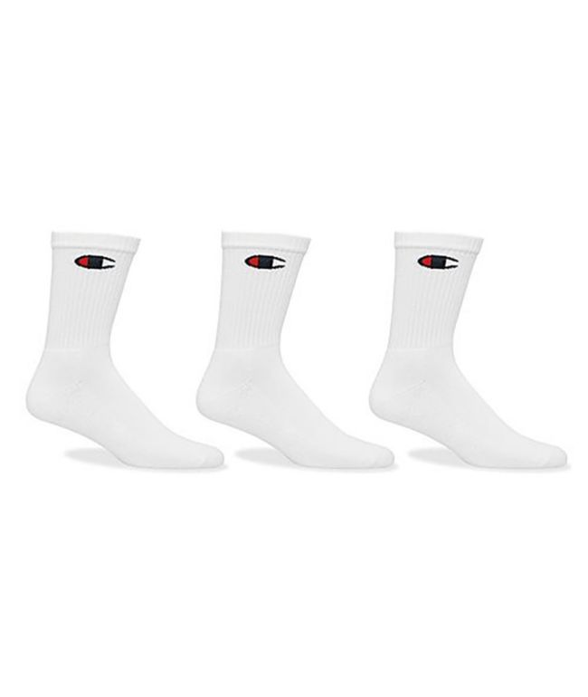 Champion Classic C Logo White 3 Pack Crew Socks