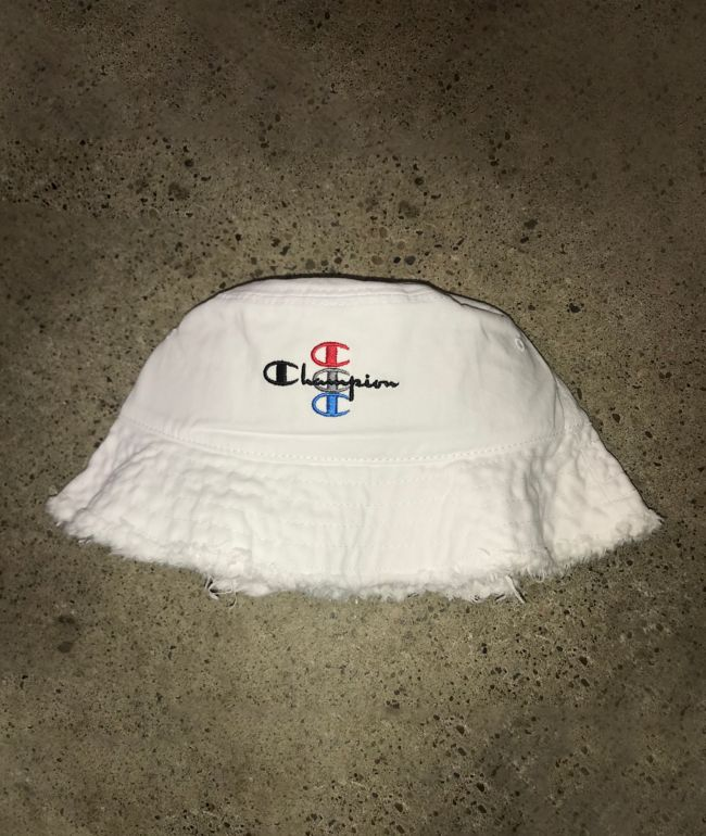 Champion Frayed Edge White Bucket Hat