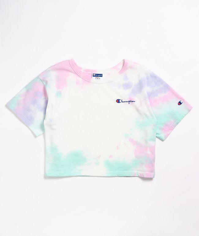 Champion Heritage Pink, Purple & Teal Cloud Dye Crop T-Shirt