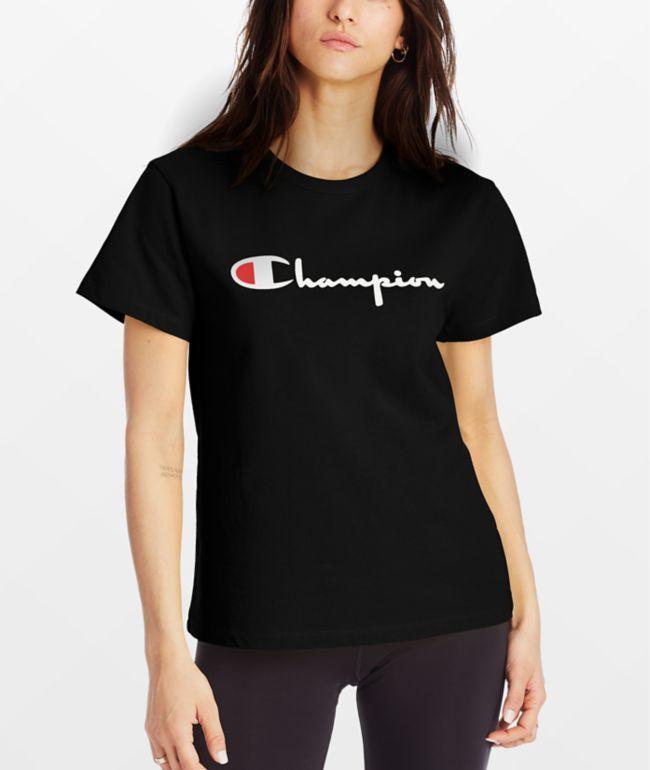 Champion Heritage Script Black T-Shirt