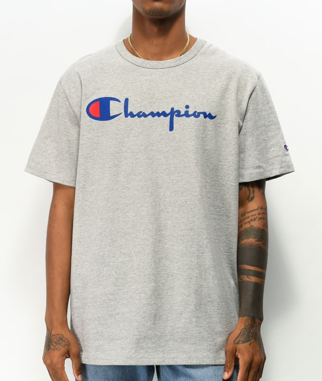 Champion Heritage Script Blue & Grey T-Shirt