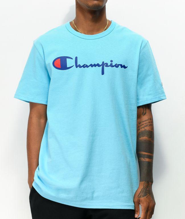 Champion Heritage Script Light Blue T-Shirt