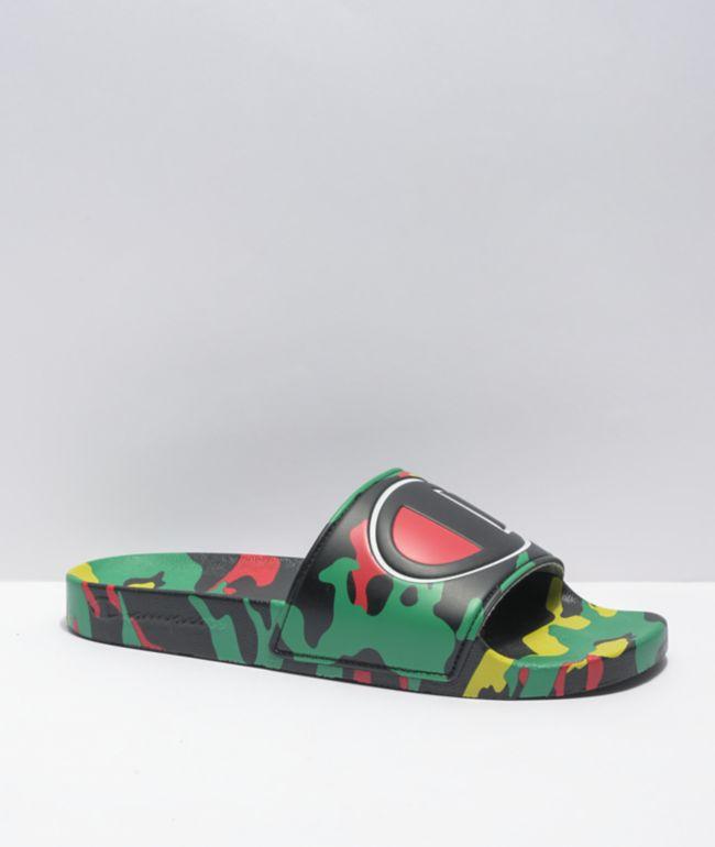 Champion IPO Black, Green, & Scarlet Camo Slide Sandals
