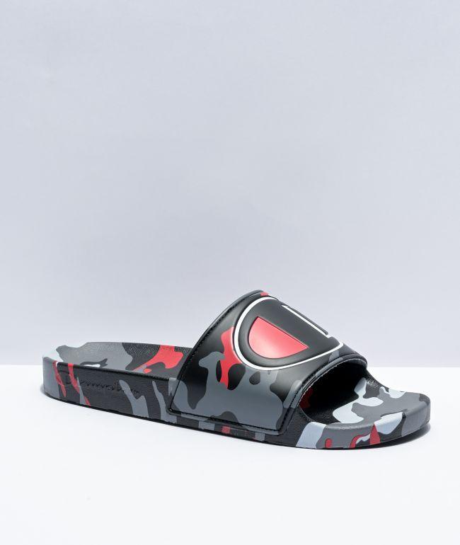 Champion IPO Camo Black, Grey, & Scarlet Slide Sandals