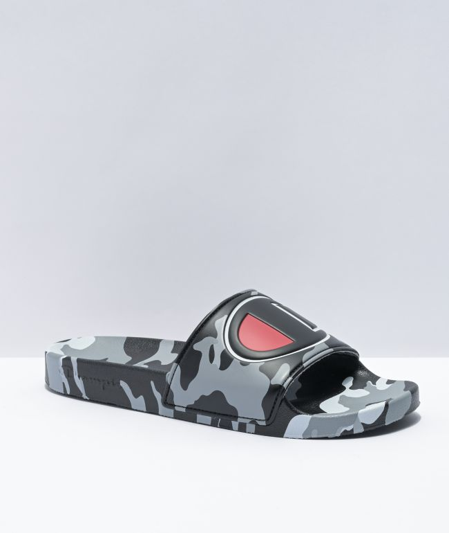 Champion IPO Camo Black & Grey Slide Sandals