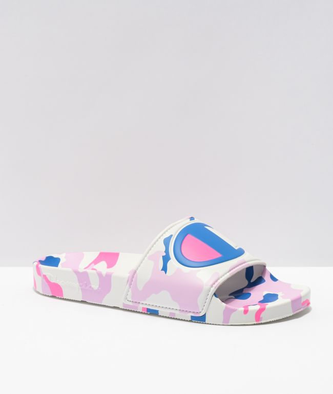 Champion IPO Camo White, Pink & Blue Slide Sandals