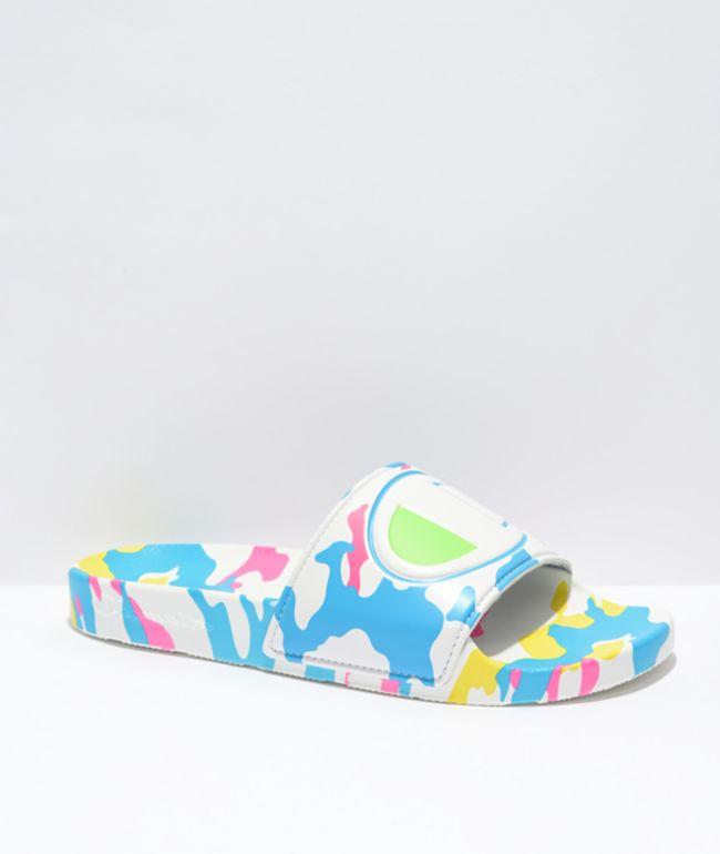 Champion IPO Camo White & Blue Slide Sandals