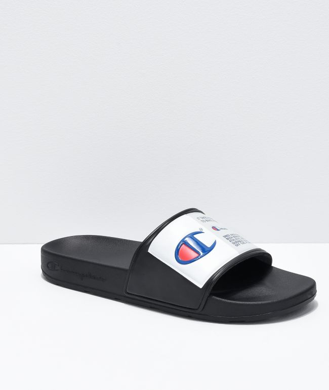 Champion IPO Jock Black & White Slide Sandals