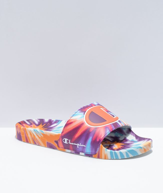 Champion IPO Magenta, Orange & Blue Tie Dye Slide Sandals