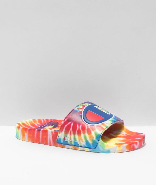 Champion IPO Rainbow Tie Dye Slide Sandals