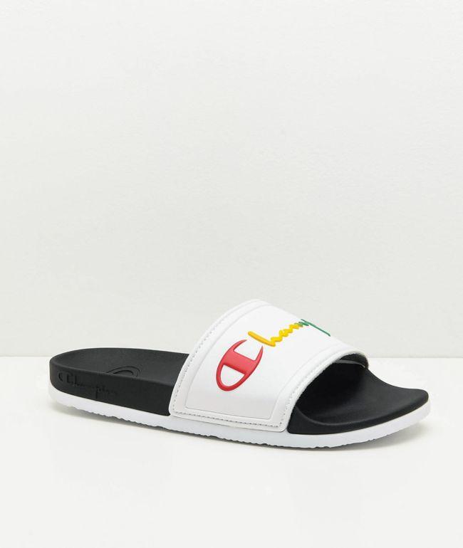 Champion IPO Squish White & Rainbow Slide Sandals