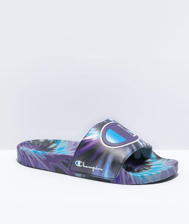 Champion IPO Tie Dye Black, Purple & Teal Slide Sandals