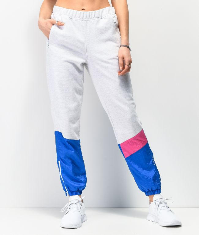 Champion Mixed Media Grey, Blue & Pink Jogger Sweatpants