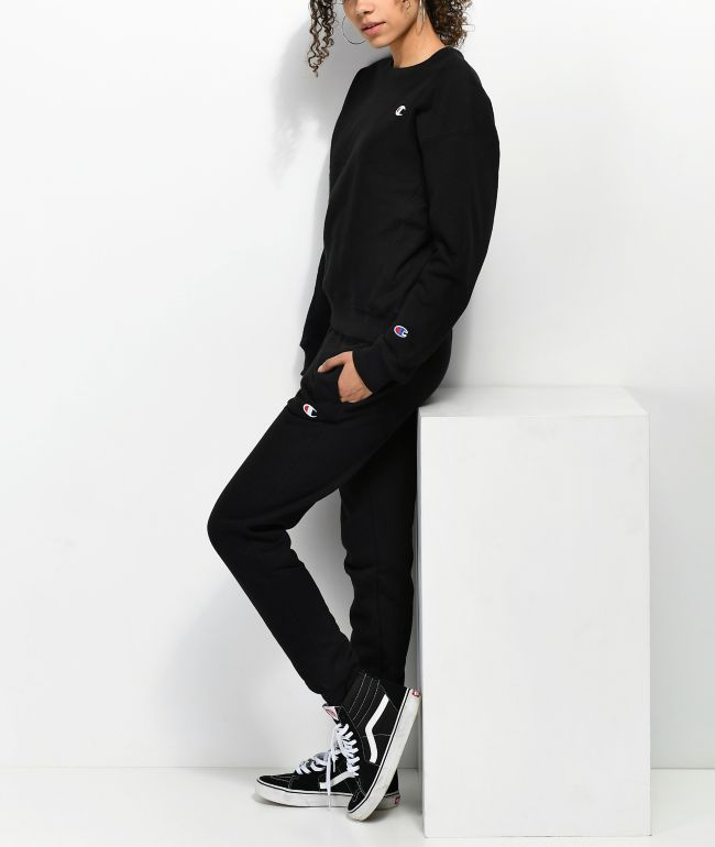 Champion Reverse Weave Black Sweatpants
