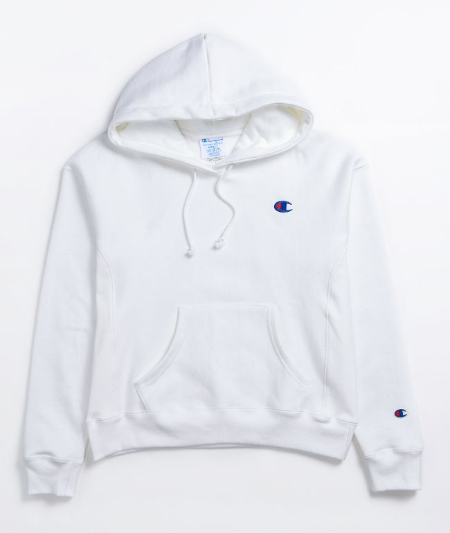 Champion Reverse Weave C Emblem White Hoodie