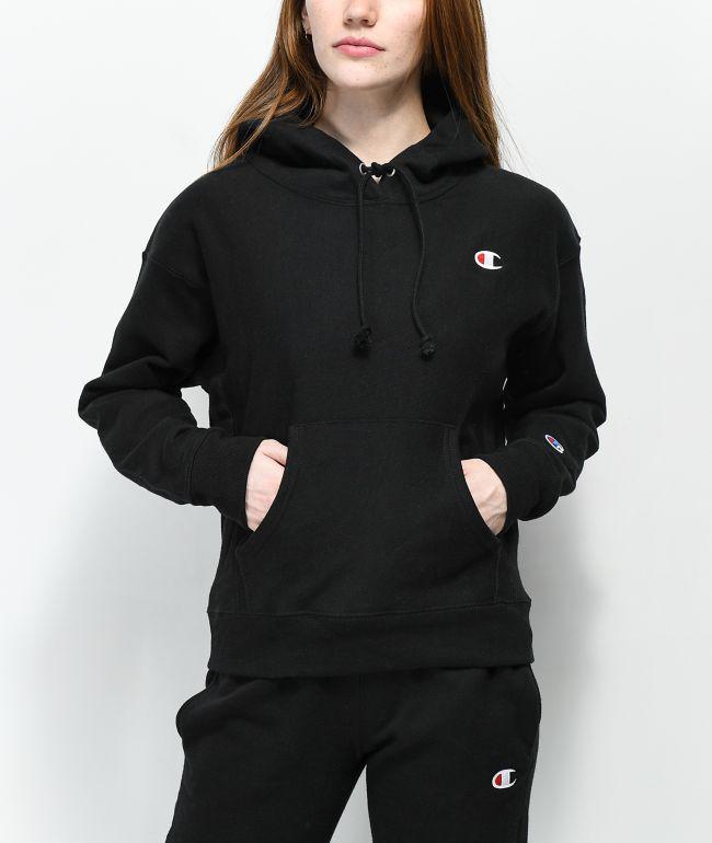 Champion Reverse Weave C Logo Black Hoodie