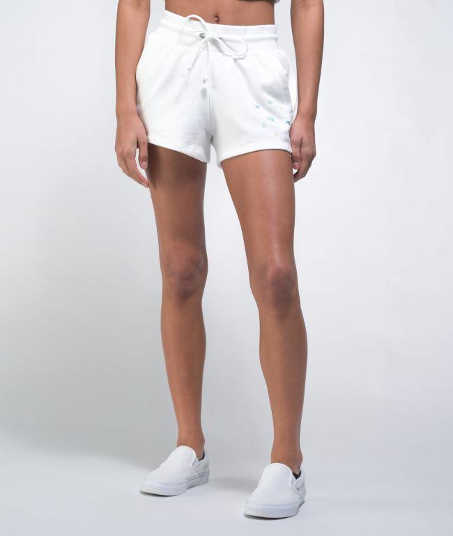Champion Reverse Weave Circle Logo White Sweat Shorts