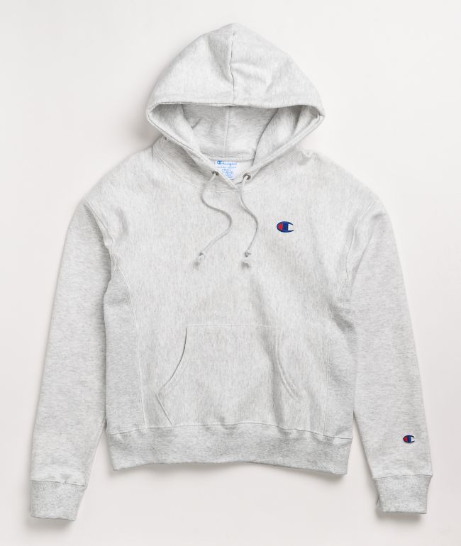 Champion Reverse Weave Embroidered C Grey Hoodie