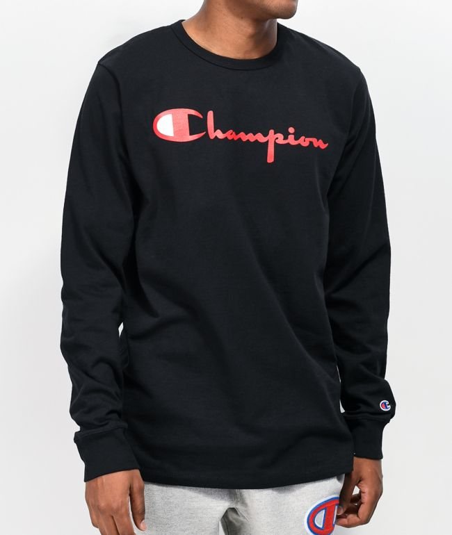 Champion Reverse Weave Heritage Script Black & Red Long Sleeve T-Shirt