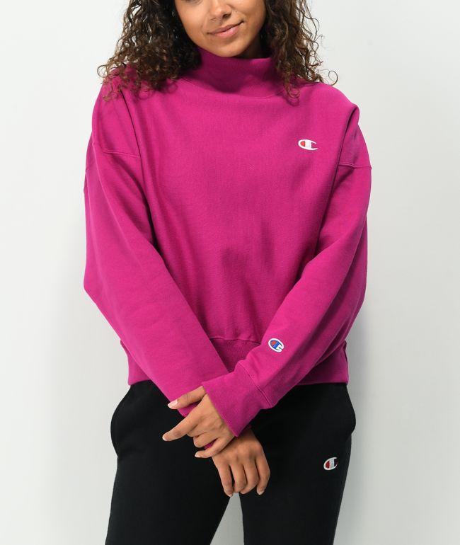 Champion Reverse Weave Inari Purple Crop Mock Neck Sweatshirt