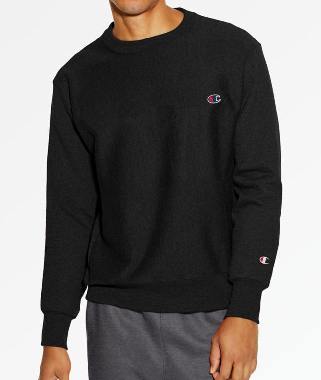 Champion Reverse Weave Small C Black Crew Neck Sweatshirt