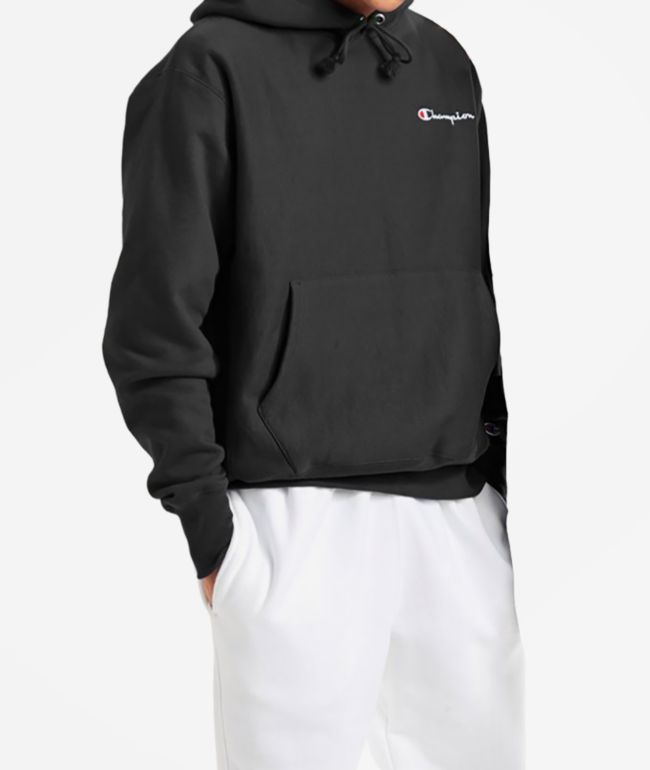 Champion Reverse Weave Small Script Embroidered Black Hoodie