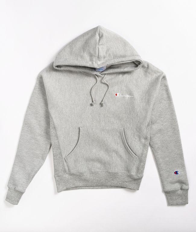 Champion Reverse Weave Vintage Sript Grey Hoodie