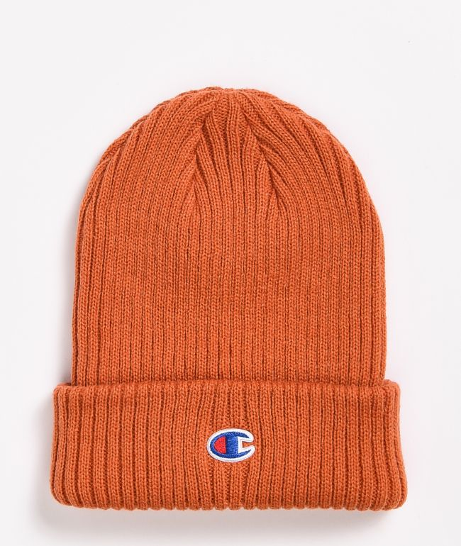 Champion Ribbed C Patch Orange Beanie