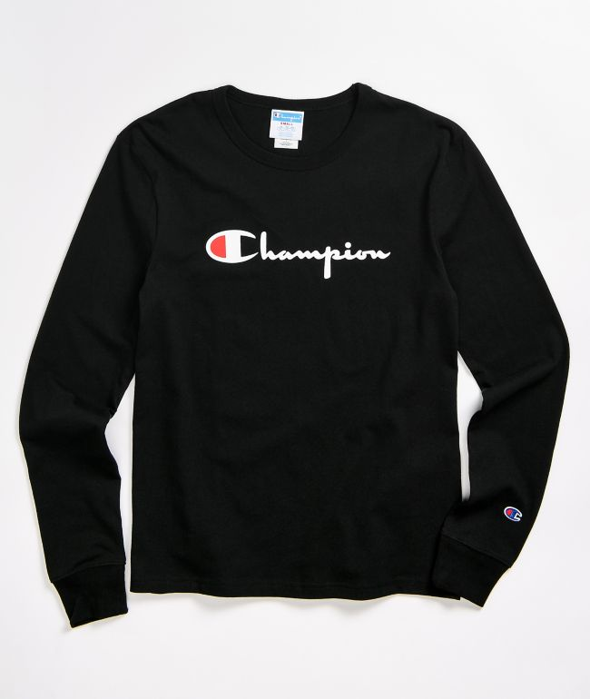 Champion Script Logo Black & White Long Sleeve T-Shirt