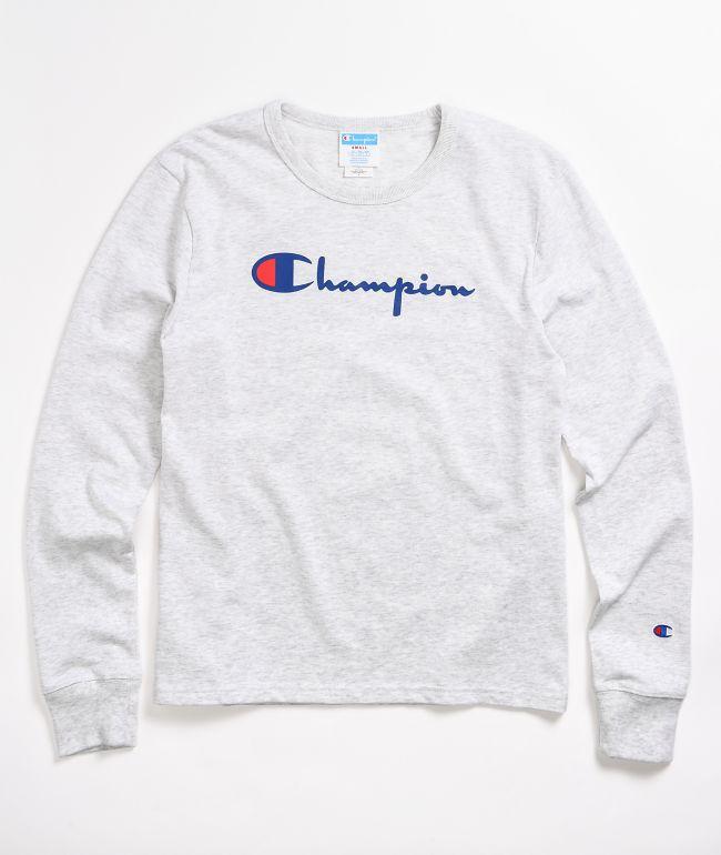 Champion Script Logo Light Grey Long Sleeve T-Shirt