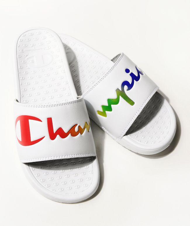 Champion Split Script White & Multi-Color Slide Sandals