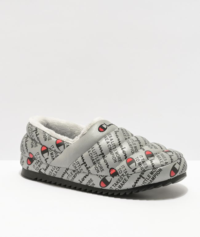 Champion Women's Varsity Reflective Silver Slippers