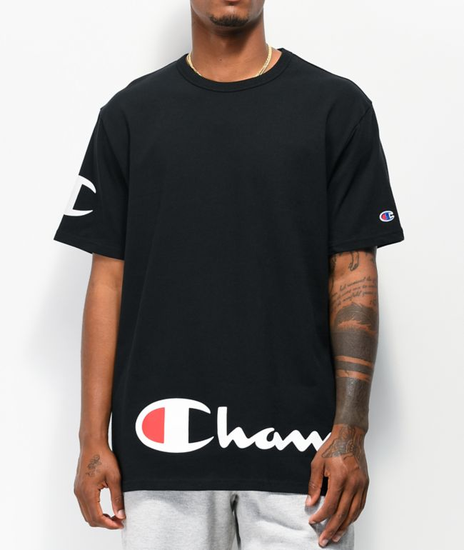 Champion Wrap Around Script Black T-Shirt