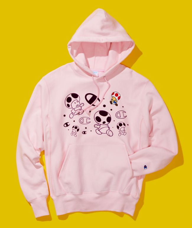 Champion x Super Mario Bros Toad Light Pink Hoodie