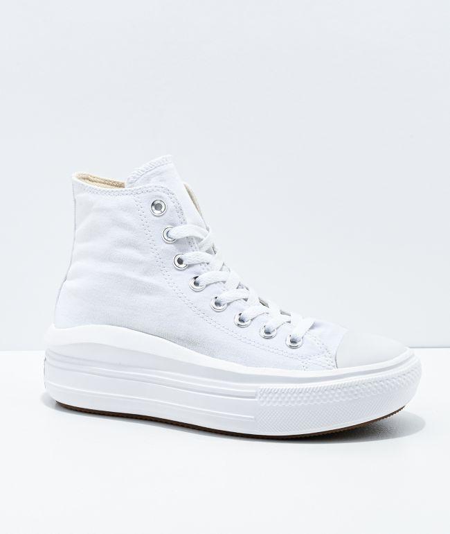 Converse CTAS Move Hi White Platform Shoes