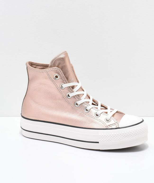 converse platform metallic leather