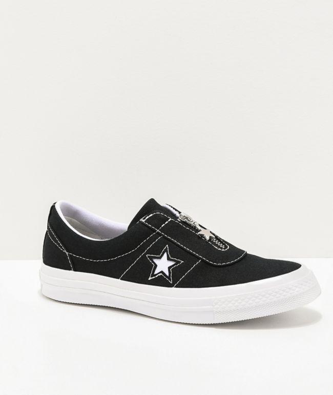 converse one star slip on black