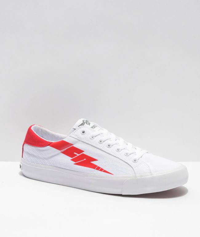 Creative Recreation Zeus Lo White & Red Canvas Shoes