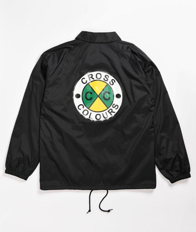 Cross Colours Circle Logo Black Coaches Jacket