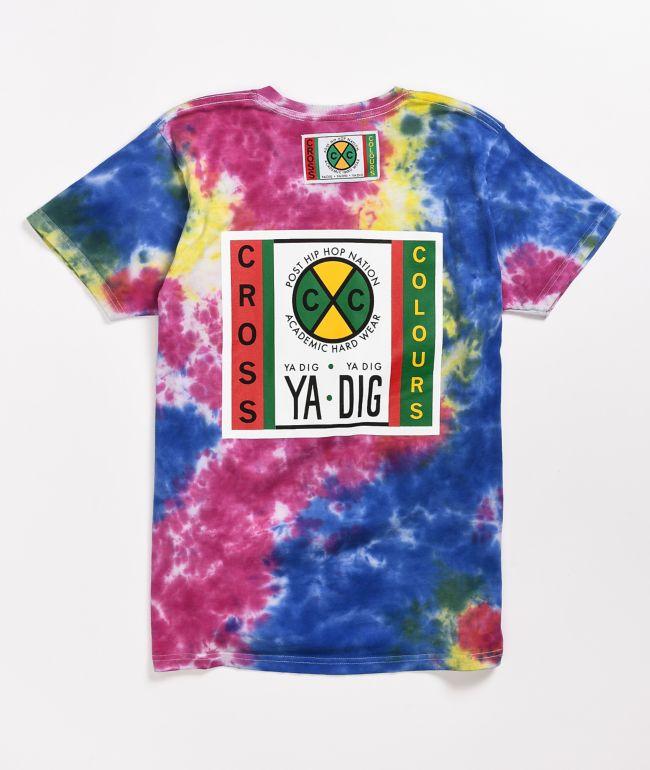 Cross Colours Label Logo Multi Tie Dye T-Shirt