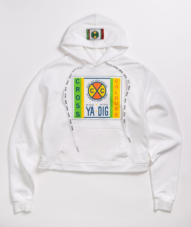 Cross Colours Label Logo Recolor White Hoodie
